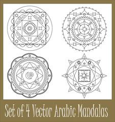 Set of 4 arabic mandalas