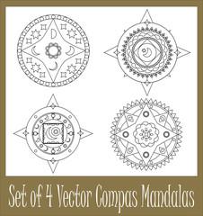 Set of 4 compass mandalas