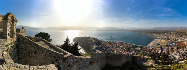 Panoramic view from the fortress of Palamidi, Nafplio, Greece