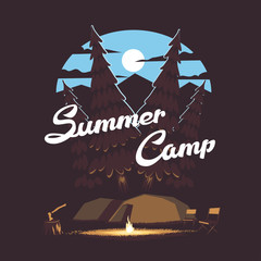 Vector summer illustration summer camp with a campfire and tents on the background of the night forest, mountains and the moon