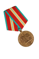 "Medal ""70 years of the Soviet Armed Forces"". isolated on white.  illustrative editorial."