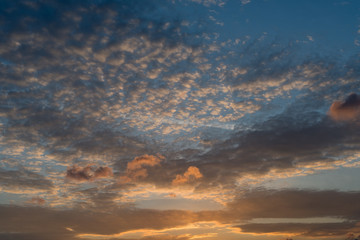 Background. The sky with clouds at sunset
