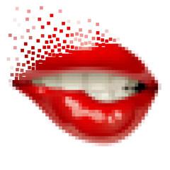 Pixel art female sexy gloss red lips