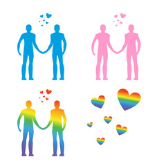 LGBT silhouettes. Same-sex love. Gays and lesbians. Blue and pin
