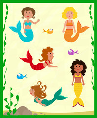 Cute Mermaids - Cute set of five colorful mermaids and fish. Eps10