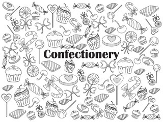 Confectionery colorless set vector illustration