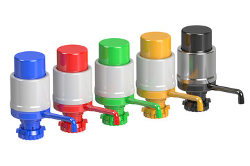 Set of Gallon Bottle Drinking Water Pumps, 3D rendering