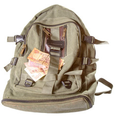 Backpack and several notes of the Ukrainian money