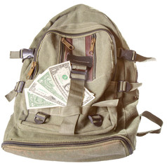Backpack and several American dollars