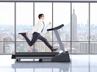 Businessman on treadmill