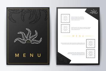 Design cover menu. Brochure culinary menu. Menu design. Menu background for restaurant or coffee. Restaurant menu, template design. Food flyer brochure. Sea restaurant menu design.