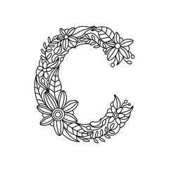 Letter C coloring book for adults vector