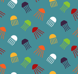 Seamless pattern with bright jellyfishes. Cute print for kids