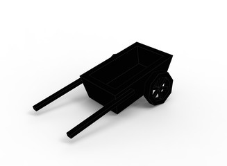 simple black and white cart. 3d illustration on white background with shadow. icon for game.