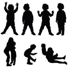 children set silhouette illustration