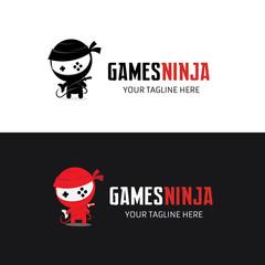 Ninja logo template,Games logo template.