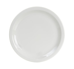 Empty white circle plate isolated on white