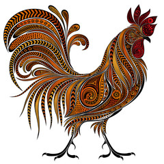 Beautiful vector fire cock by New year 2017