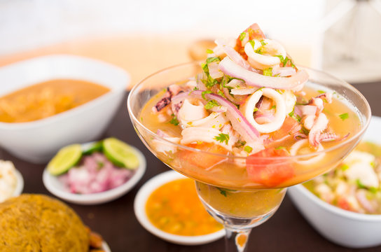 Onion, squid and coriander the main ingredients of this delicious ceviche