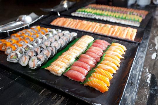 raw fish sashimi, japanese food.