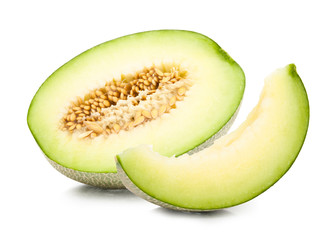 green cantaloupe melon isolated