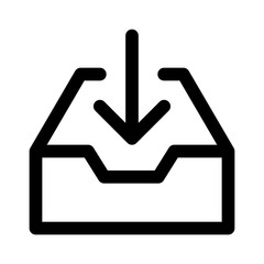 Message inbox / mail inbox line art icon for apps and websites