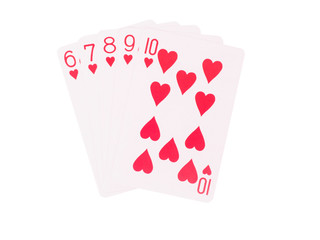 Straight Flush playing cards isolated on white background.