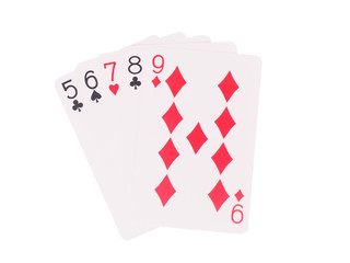 Straight playing cards isolated on white background.