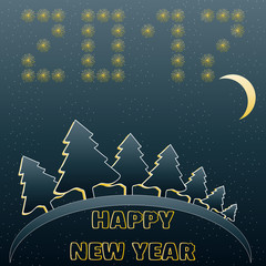Greeting card with happy new year in blue and yellow colors. Vector illustration