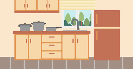 Background of kitchen with kitchenware.