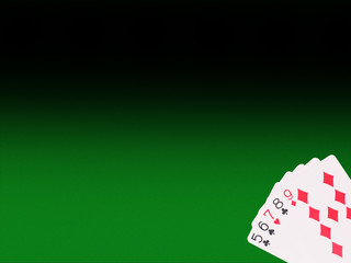 Straight playing cards on the poker table