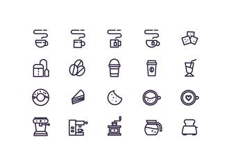 coffee icon set vector. line icons.