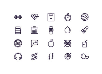 healthy lifestyle icon set vector.line icons.