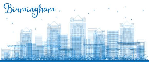 Outline Birmingham (Alabama) Skyline with Blue Buildings.
