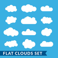 Cloud icons set. White outline isolated on blue sky background. Collection template elements design. Symbol of space, weather, clear and nature. Abstract signs. Flat graphic style. Vector Illustration