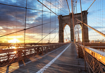 Tuinposter Brooklyn Bridge New York, Brooklyn bridge, Lower Manhattan, USA