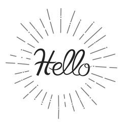 handwriting hello inside sunburst design font