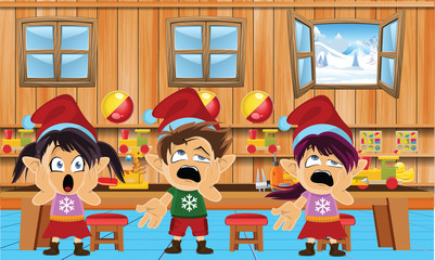 Cute and funny santa elves