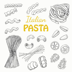 Set Italian pasta on a white background