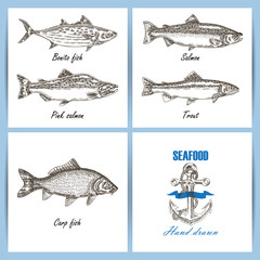 Seafood temlate design. Engraved vector fish set. Hand drawn