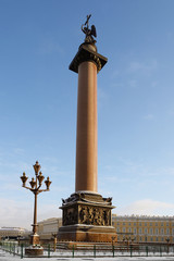 Alexander Column also known as Alexandrian Column. Dedicated to Russian victory over Napoleonic France in Patriotic War of 1812 and was inaugurated in 1834