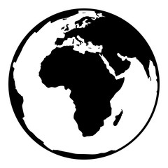 Contour black symbol of earth planet in africa view