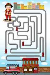 Maze game with fire fighter and station