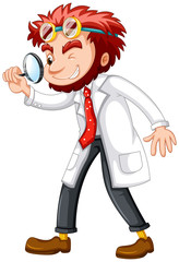 Mad scientist with magnifying glass
