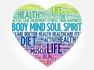 Body Mind Soul Spirit heart word cloud, fitness, sport, health concept