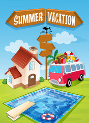 Summer vacation sign with van and pool