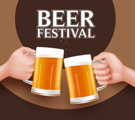 Beer Festival Toast of Two Man Holding Mug for Celebration. 3D Realistic Vector Illustration
