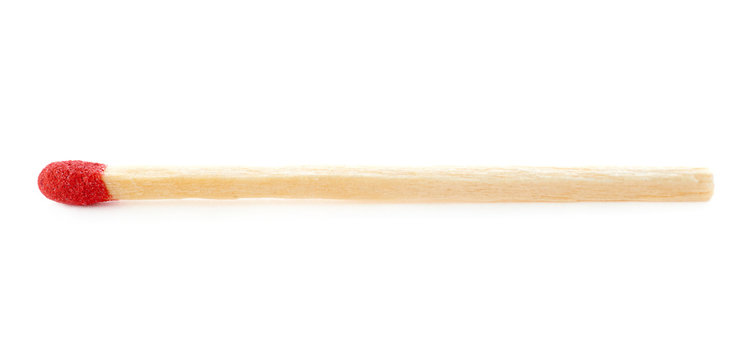 Wooden match isolated over the white background
