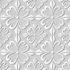 Vector damask seamless 3D paper art pattern background 374 Spiral Cross Flower