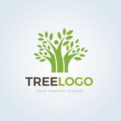 Tree logo,people tree logo,family logo,green logo,eco logo,vector logo template.